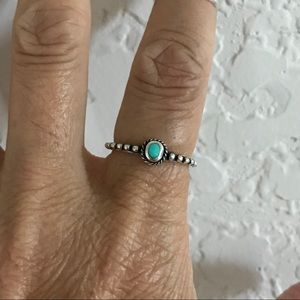 Jewelry - Sterling Silver Beaded and Braided Turquoise Ring
